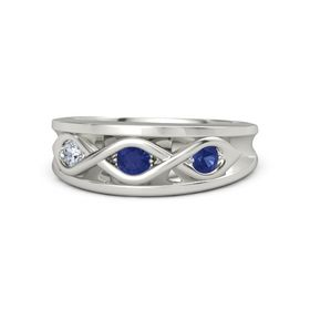 Round Blue Sapphire Platinum Ring with Blue Sapphire and Diamond