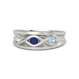 Round Blue Sapphire Platinum Ring with Blue Topaz and White Sapphire