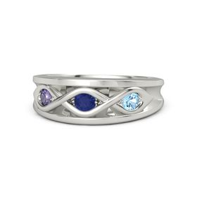 Round Blue Sapphire Platinum Ring with Blue Topaz and Iolite