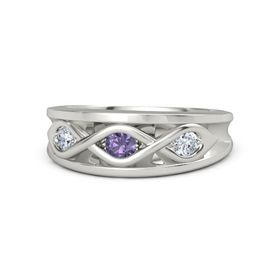Round Iolite Platinum Ring with Diamond