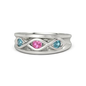 Round Pink Tourmaline Platinum Ring with London Blue Topaz