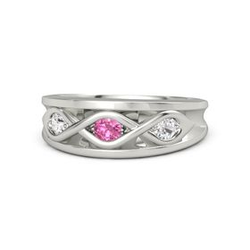 Round Pink Tourmaline Platinum Ring with White Sapphire