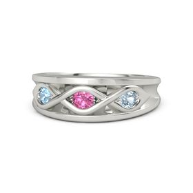 Round Pink Tourmaline Platinum Ring with Aquamarine and Blue Topaz