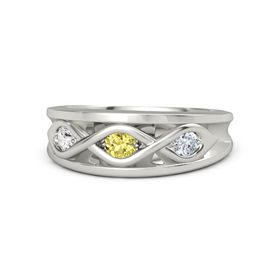 Round Yellow Sapphire Platinum Ring with Diamond and White Sapphire