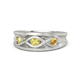 Round Yellow Sapphire Platinum Ring with Citrine and Yellow Sapphire