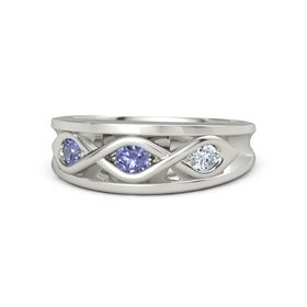 Round Tanzanite Platinum Ring with Diamond and Tanzanite