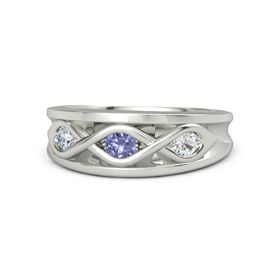 Round Tanzanite Platinum Ring with White Sapphire and Diamond