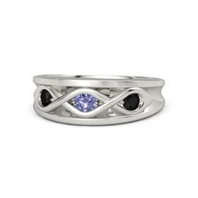 Round Tanzanite Platinum Ring with Black Onyx