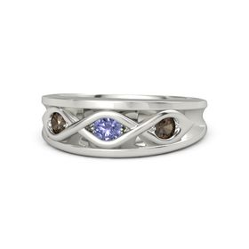 Round Tanzanite Platinum Ring with Smoky Quartz