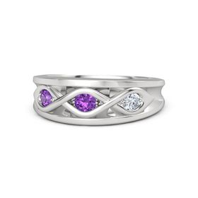 Round Amethyst Sterling Silver Ring with Diamond & Amethyst