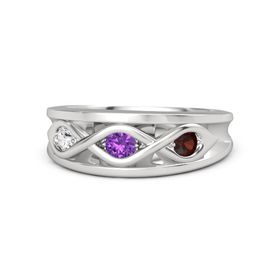 Round Amethyst Sterling Silver Ring with Red Garnet and White Sapphire