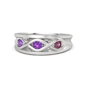 Round Amethyst Sterling Silver Ring with Rhodolite Garnet and Amethyst