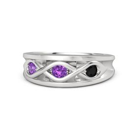 Round Amethyst Sterling Silver Ring with Black Onyx and Amethyst
