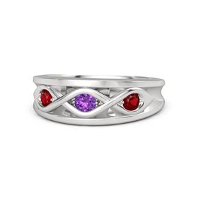 Round Amethyst Sterling Silver Ring with Ruby