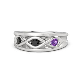 Round Black Diamond Sterling Silver Ring with Amethyst and Black Diamond