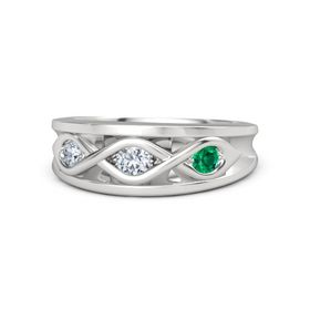 Round Diamond Sterling Silver Ring with Emerald & Diamond