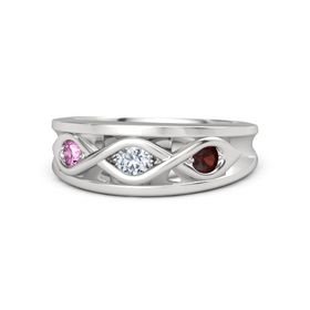 Round Diamond Sterling Silver Ring with Red Garnet and Pink Sapphire