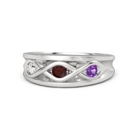Round Red Garnet Sterling Silver Ring with Amethyst and White Sapphire