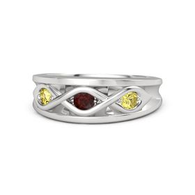 Round Red Garnet Sterling Silver Ring with Yellow Sapphire