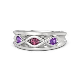 Round Rhodolite Garnet Sterling Silver Ring with Amethyst