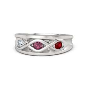 Round Rhodolite Garnet Sterling Silver Ring with Ruby and Diamond