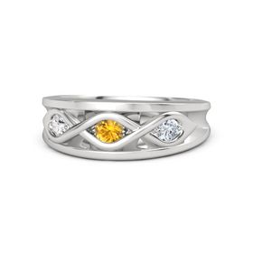 Round Citrine Sterling Silver Ring with Diamond and White Sapphire
