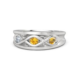 Round Citrine Sterling Silver Ring with Citrine & Diamond