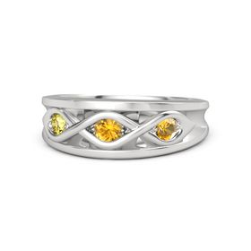 Round Citrine Sterling Silver Ring with Citrine and Yellow Sapphire