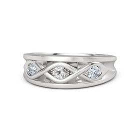 Round White Sapphire Sterling Silver Ring with Diamond