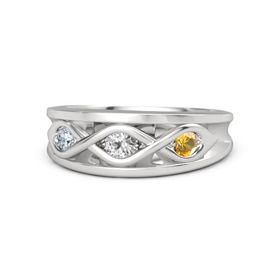 Round White Sapphire Sterling Silver Ring with Citrine and Diamond