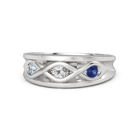 Round White Sapphire Sterling Silver Ring with Blue Sapphire and Diamond