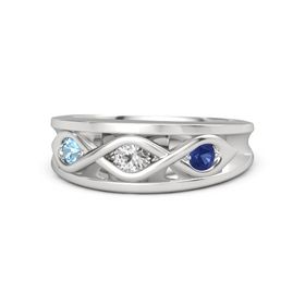 Round White Sapphire Sterling Silver Ring with Blue Sapphire and Blue Topaz