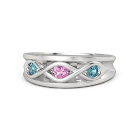 Round Pink Sapphire Sterling Silver Ring with London Blue Topaz
