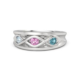 Round Pink Sapphire Sterling Silver Ring with London Blue Topaz and Aquamarine