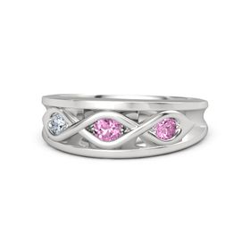 Round Pink Sapphire Sterling Silver Ring with Pink Sapphire and Diamond
