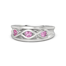 Round Pink Sapphire Sterling Silver Ring with Pink Sapphire and Pink Tourmaline