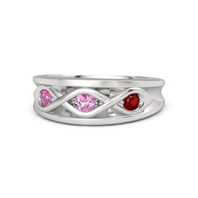 Round Pink Sapphire Sterling Silver Ring with Ruby and Pink Tourmaline