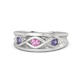Round Pink Sapphire Sterling Silver Ring with Iolite