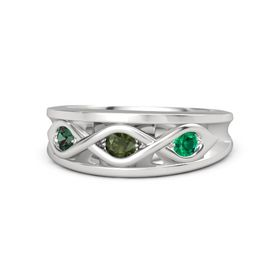 Round Green Tourmaline Sterling Silver Ring with Emerald and Alexandrite