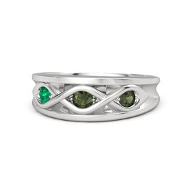 Round Green Tourmaline Sterling Silver Ring with Green Tourmaline and Emerald