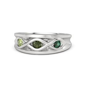 Round Green Tourmaline Sterling Silver Ring with Alexandrite and Peridot