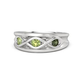 Round Peridot Sterling Silver Ring with Green Tourmaline and Peridot
