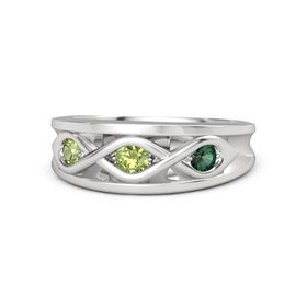 Round Peridot Sterling Silver Ring with Alexandrite and Peridot