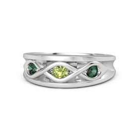 Round Peridot Sterling Silver Ring with Alexandrite