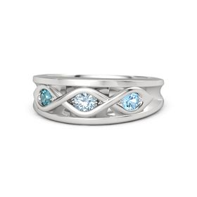 Round Aquamarine Sterling Silver Ring with Blue Topaz and London Blue Topaz