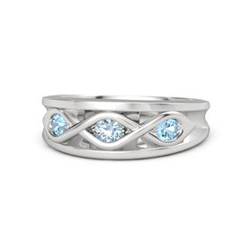 Round Aquamarine Sterling Silver Ring with Blue Topaz