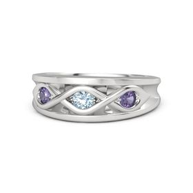 Round Aquamarine Sterling Silver Ring with Iolite