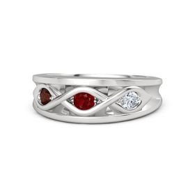 Round Ruby Sterling Silver Ring with Diamond and Red Garnet