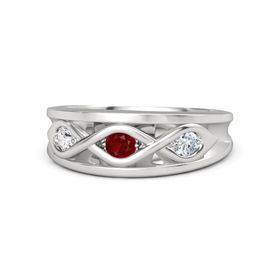 Round Ruby Sterling Silver Ring with Diamond and White Sapphire