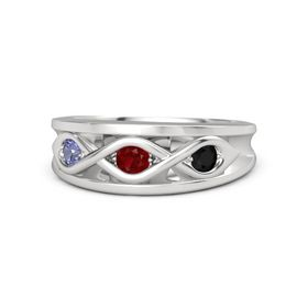Round Ruby Sterling Silver Ring with Black Onyx and Tanzanite